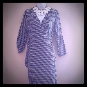 Calvin Klein navy and white wrap dress. Size 10